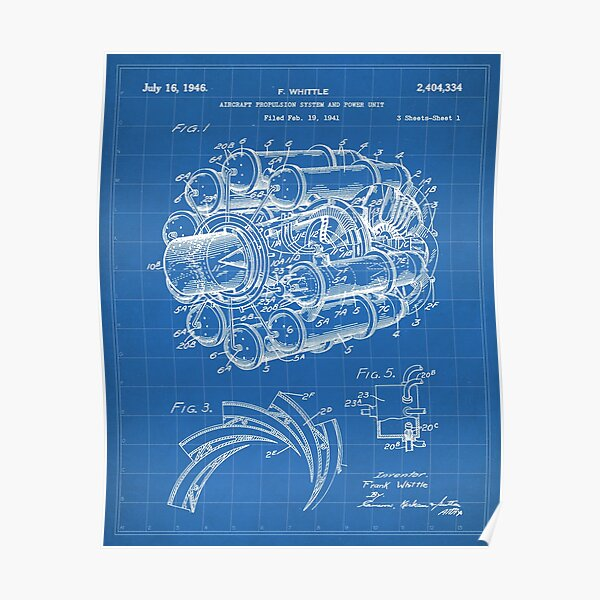 Airplane Jet Engine Patent - Airline Engine Art - Blueprint Poster