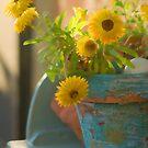 Yellow Flower, Blue Pot by Bob  Perkoski