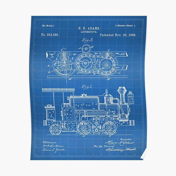 Steam Train Patent - Steam Locomotive Art - Blueprint Poster
