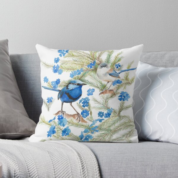 Splendid Wren & Leschenaultia Throw Pillow