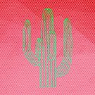 Deserted Cactus - chevron pink by Gale Switzer