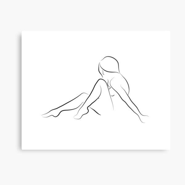 Sexy Nude Line Art Sketch - Dear Ada Metal Print