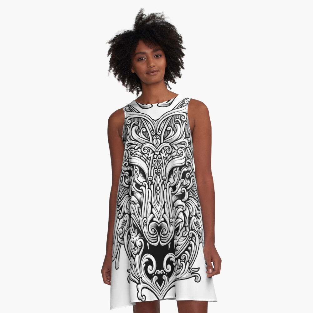Wolf Ornate A-Line Dress
