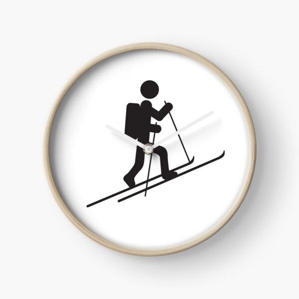 Backcountry Skiing design Vintage Ski-Tours Ski Mountaineer Clock