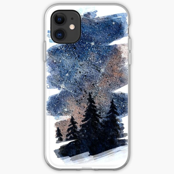 Watercolor pine forest and galaxy painting. Brush stroke version iPhone Soft Case
