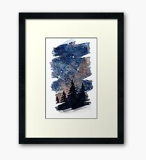 Watercolor pine forest and galaxy painting. Brush stroke version Framed Print