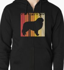 Vintage Retro Great Pyrenees Christmas Gift Zipped Hoodie