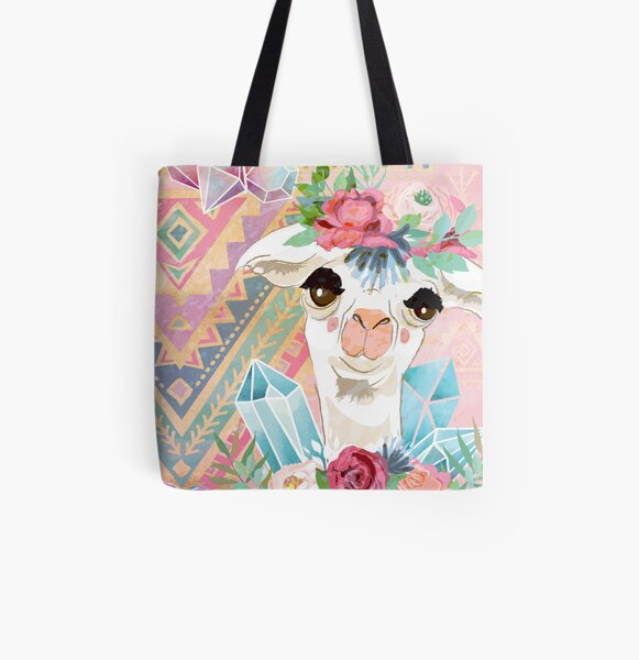 Vintage Boho Alpacas for Makers, Crafters, Knitters, Crocheters, all crafts. All Over Print Tote Bag