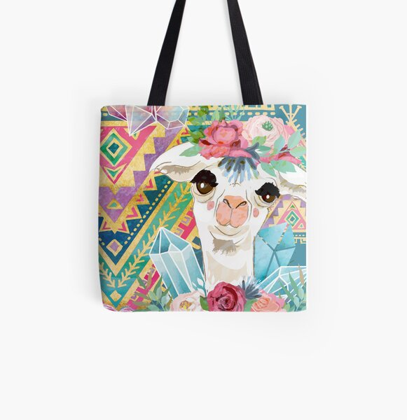 Jewel Boho Alpacas for Makers, Knitters, Crocheters, all crafts. All Over Print Tote Bag
