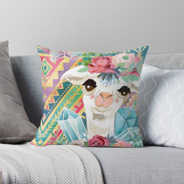 Jewel Boho Alpacas for Makers, Knitters, Crocheters, all crafts. Throw Pillow
