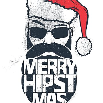 Merry Hipstmas Hipster Santa Christmas Gift / Mustache Party Christmas by kolbasound