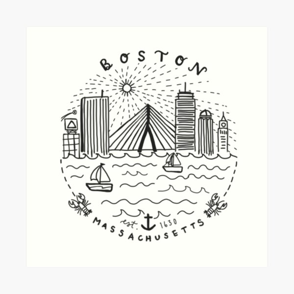 Boston Mass Skyline Collage Art Print
