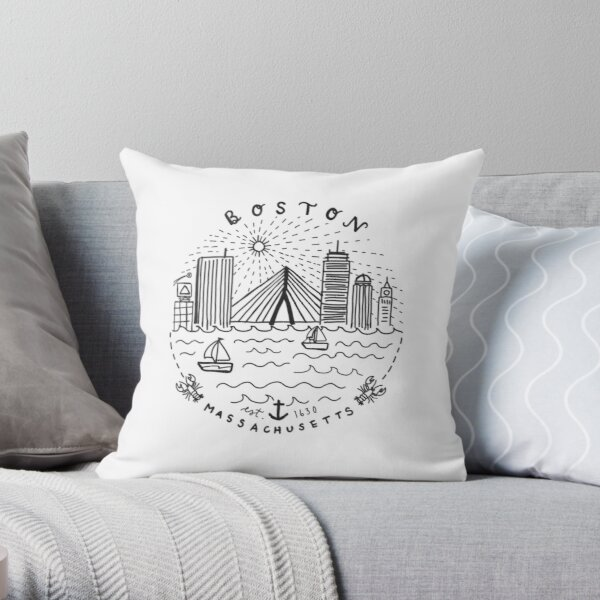 Boston Mass Skyline Collage Throw Pillow