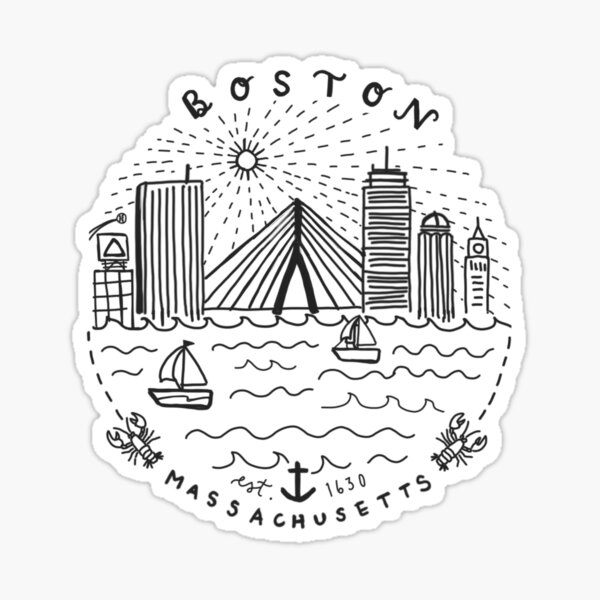Boston Mass Skyline Collage Sticker