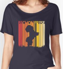 Vintage Retro Bichon Frise Christmas Gift Women's Relaxed Fit T-Shirt