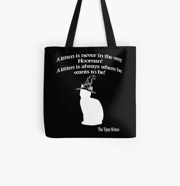 Wizard Kitten Black All Over Print Tote Bag