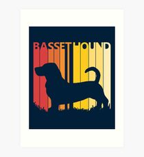 Vintage Retro Basset Hound Christmas Gift Art Print