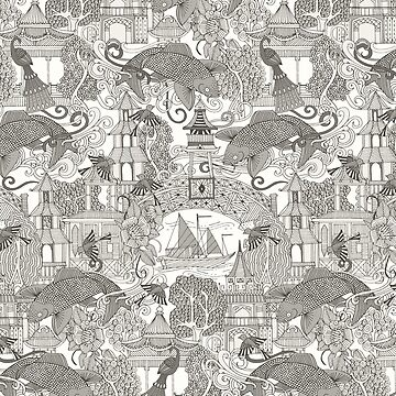 chinoiserie toile mono by scrummy