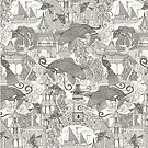 chinoiserie toile mono by Sharon Turner