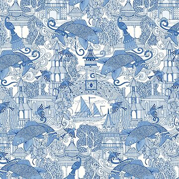 chinoiserie toile blue by scrummy