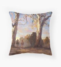 Riders in the Red Gums - after Hans Heysen Throw Pillow