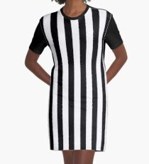 Black and White Vertical Stripes Graphic T-Shirt Dress