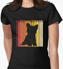 Vintage Retro Yorkshire Terrier Christmas Gift Women's Fitted T-Shirt