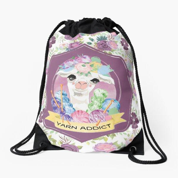 Violet the Yarn Addict Alpaca Drawstring Bag