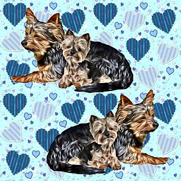 Yorkies and Blue Hearts by IowaArtist