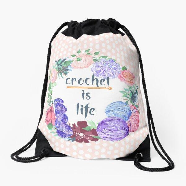 Crochet is Life Drawstring Bag