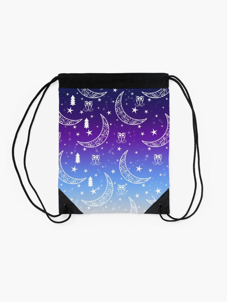Alternate view of Moon And stars Drawstring Bag