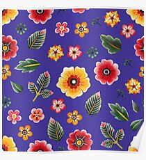 Colorful Floral Watercolor Pattern on Purple Poster