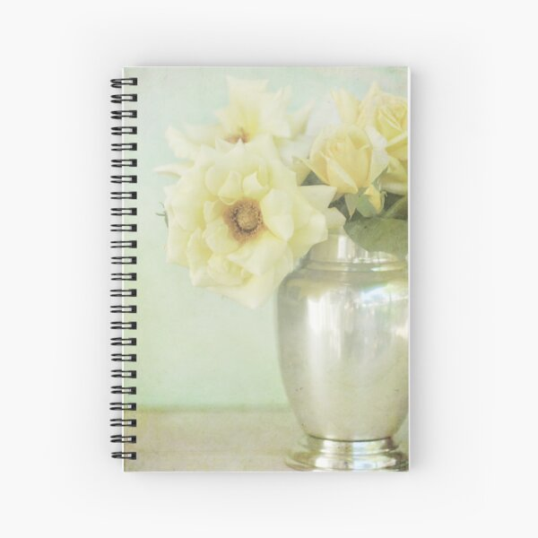 Yellow Roses in Silver Vase Spiral Notebook
