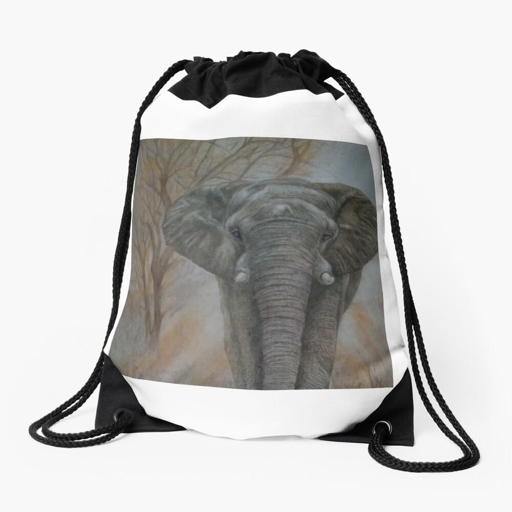 "Bull elephant ""Morning Stroll"" Drawstring Bag"