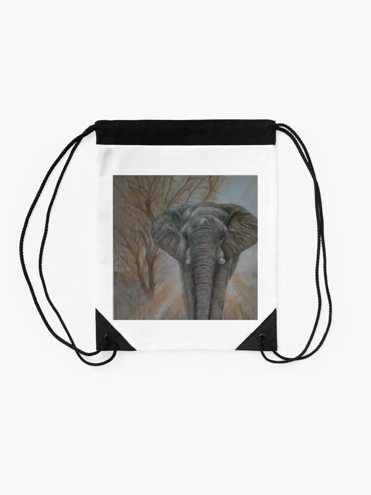 """Alternate view of Bull elephant """"Morning Stroll"""" Drawstring Bag"""