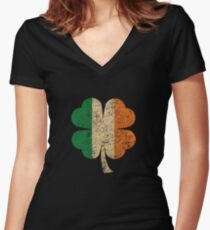 Four Leaf Clover Shamrock Ireland Flag Women's Fitted V-Neck T-Shirt