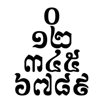 Cambodian Numbers Pyramid - 0 12 345 6789 Khmer Script by iloveisaan