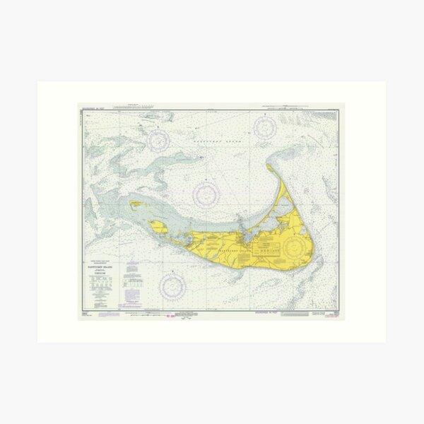 Vintage Karte von Nantucket (1975) Kunstdruck