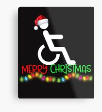 Funny Wheelchair Christmas Shirt Metal Print
