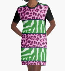 Animal print green and pink Graphic T-Shirt Dress