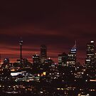 Sydney skyline in late sunset - large scale shot by Achim Casties