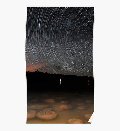Star Trails Over Lake Clifton Thrombolites  Poster
