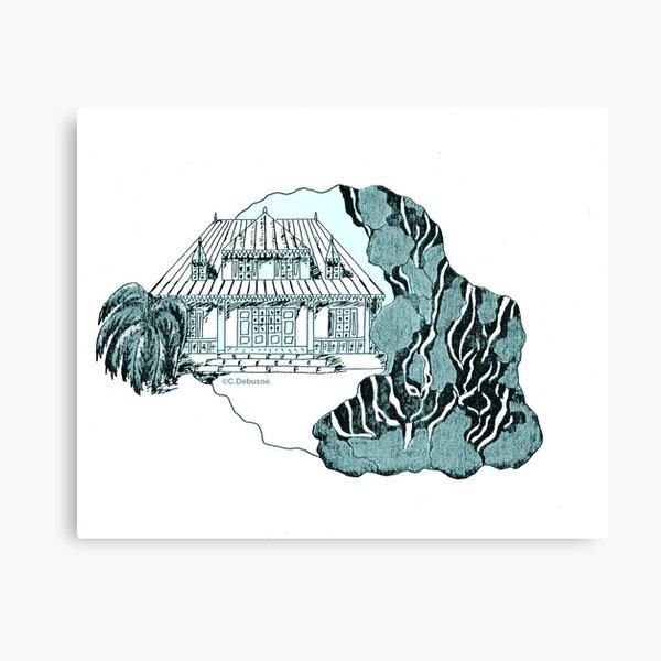 Île de la Réunion. Variante en Turquoise Impression sur toile