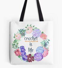 Crochet is Life Wreath of Yarn Tote Bag