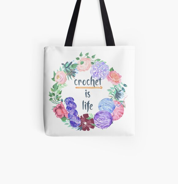 Crochet is Life Wreath of Yarn All Over Print Tote Bag