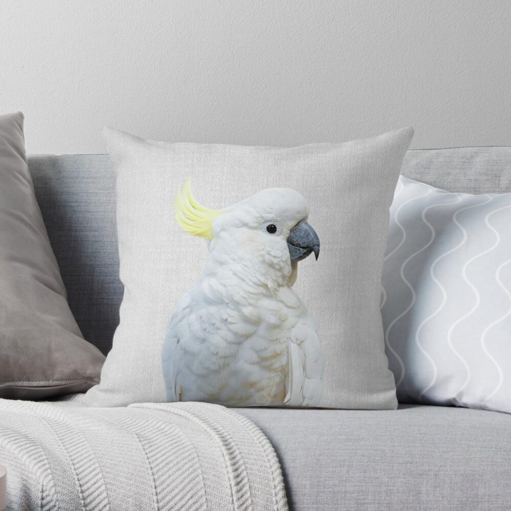 Weißer Kakadu - bunt Dekokissen