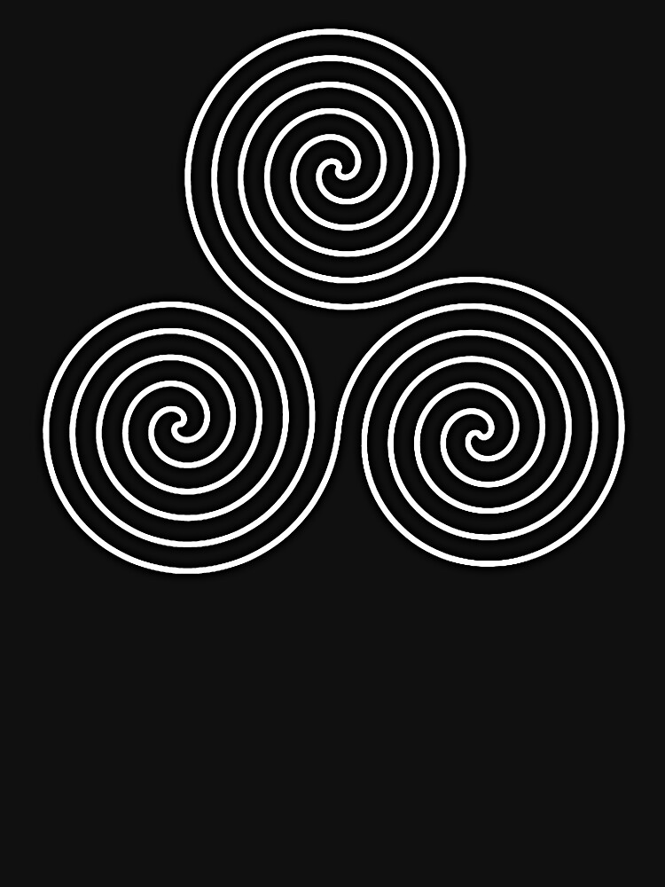 Neolithic, triple, spiral, symbol, Neo, Pagan, Triple Goddess symbol, WHITE on BLACK by TOMSREDBUBBLE