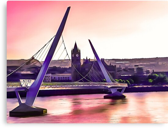 Derry / Londonderry Peace Bridge. (Painting.)  by Colin Majury
