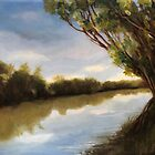 The River - local river plein air landscape oil painting  by LindaAppleArt