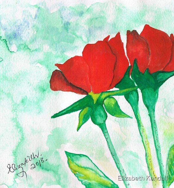 Two red roses by Elizabeth Kendall